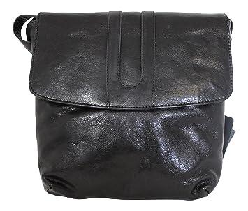Leather Guild diseño Studio Pell Mell Rhona Negro Cuero Cruz ...