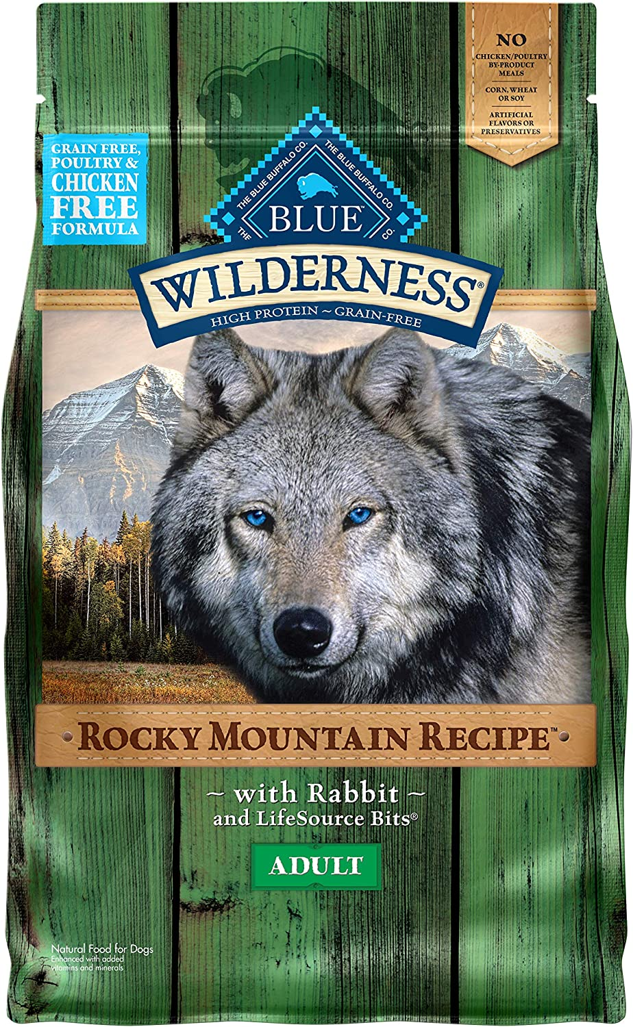 Blue Buffalo Wilderness Rocky Mountain Recipe High Protein, Natural Adult Dry Dog Food, Rabbit 4-lb