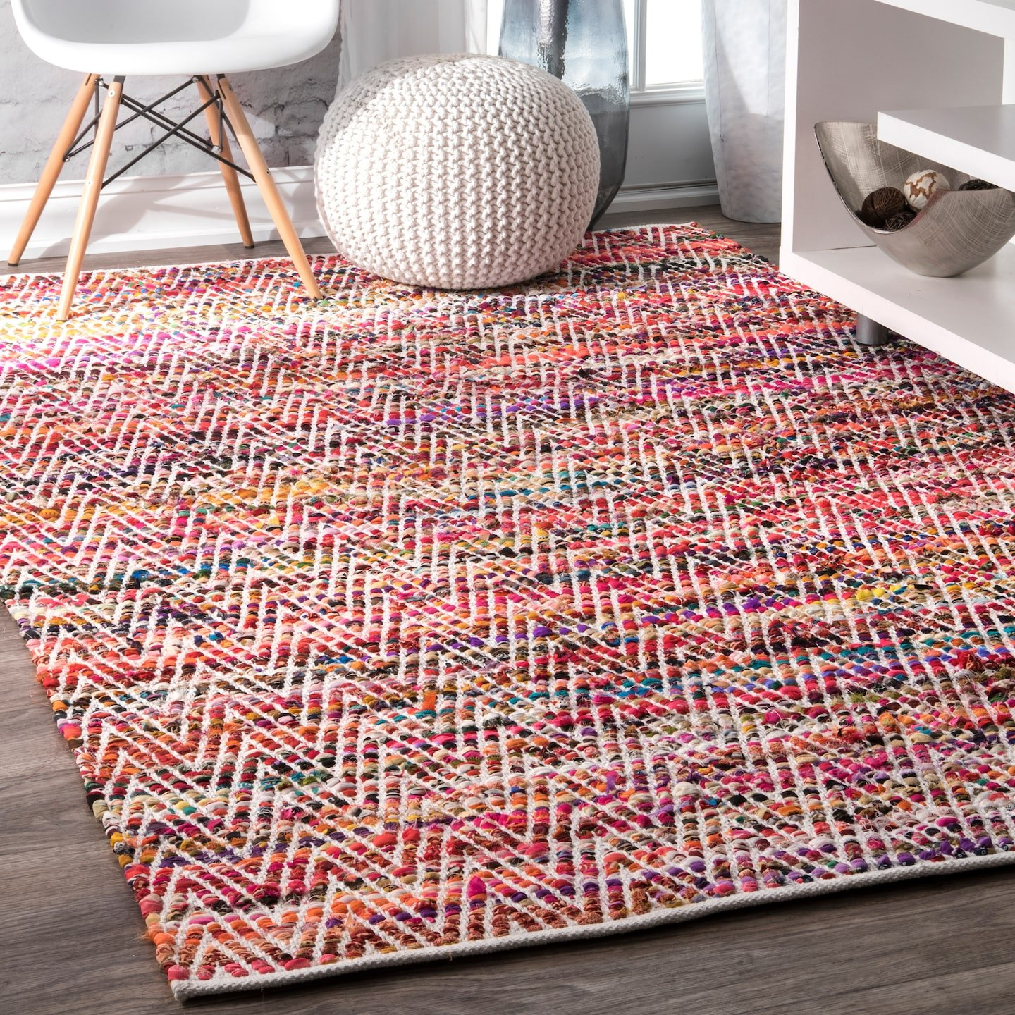 nuLOOM Hand Woven Candy Striped Chevron Area Rugs, 2' x 3', Magenta