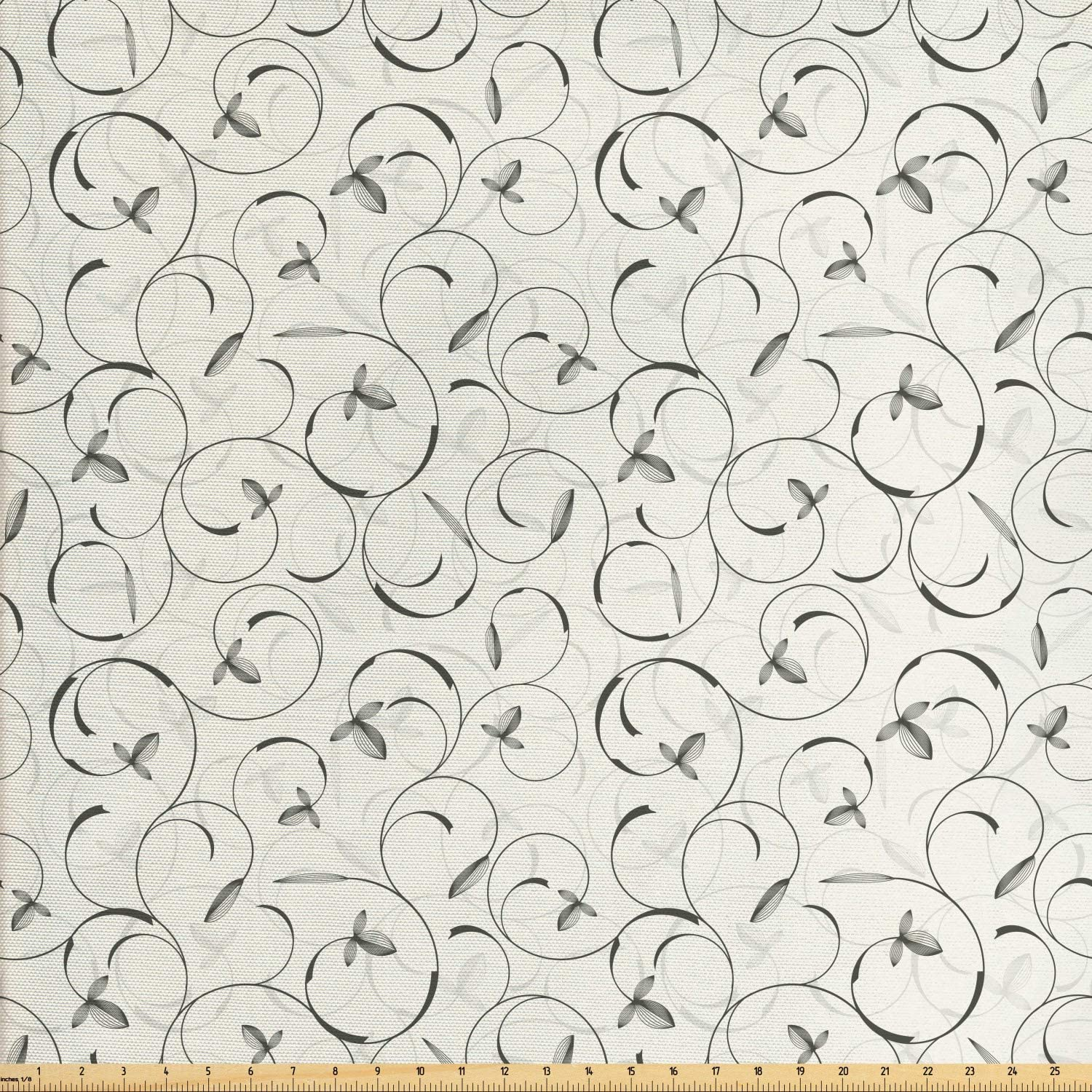 Lunarable Grey Fabric by The Yard, Swirling Floral Pattern in The Springtime Inspired Curved Stems and Forms Print, Decorative Fabric for Upholstery and Home Accents, 2 Yards, Grey