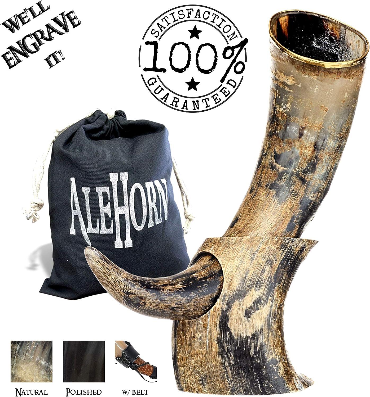 Corno potorio realizzato a mano 365 cm ca. in corno naturale corno vichingo per bere con supporto Natural Horn