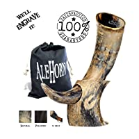 AleHorn Authentic Drinking Horn Curved Style with Stand -Natural- 12 inch- Viking...
