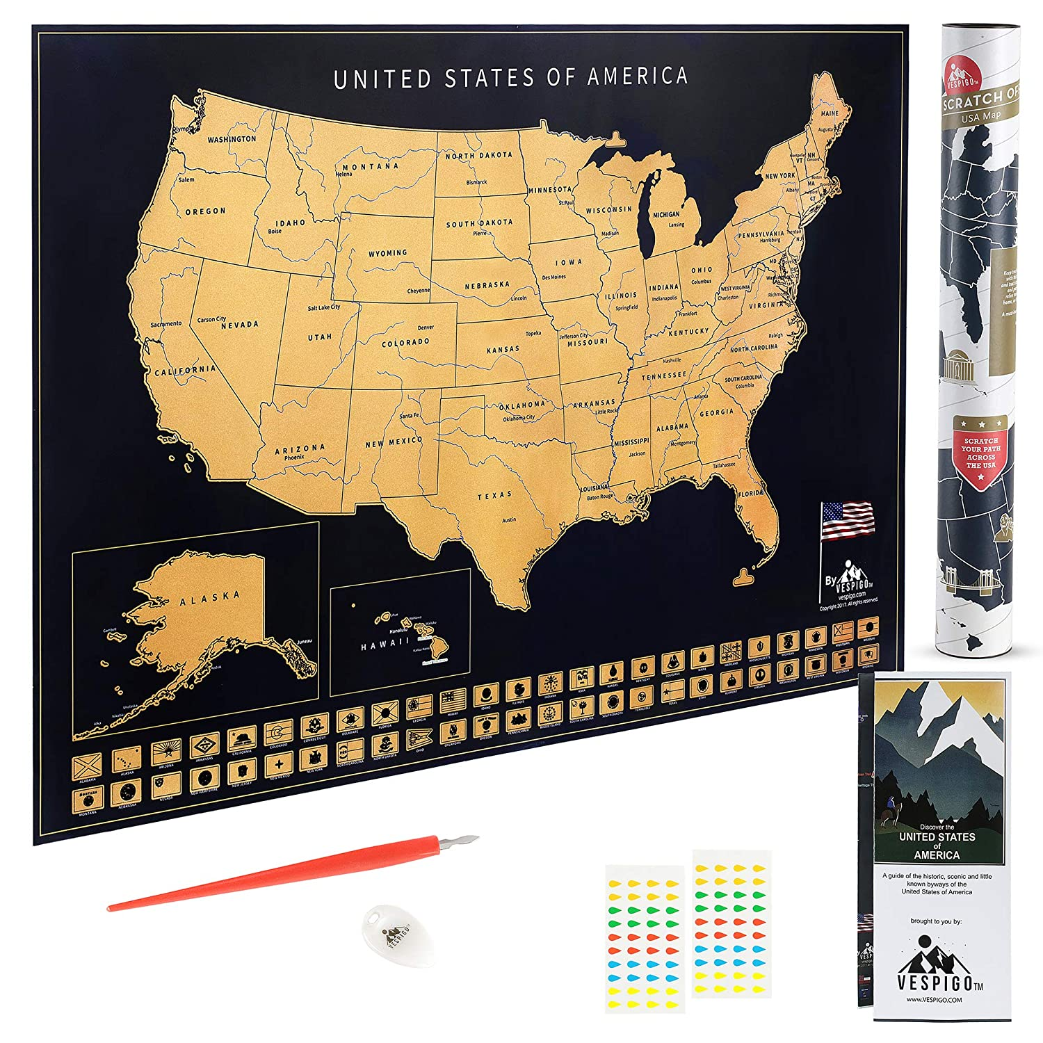 State Flags USA Scratch Off Map by Vespigo National Parks Scenic Trails 24x17 Bonus Accessories Pack with Unique Discover America brochure