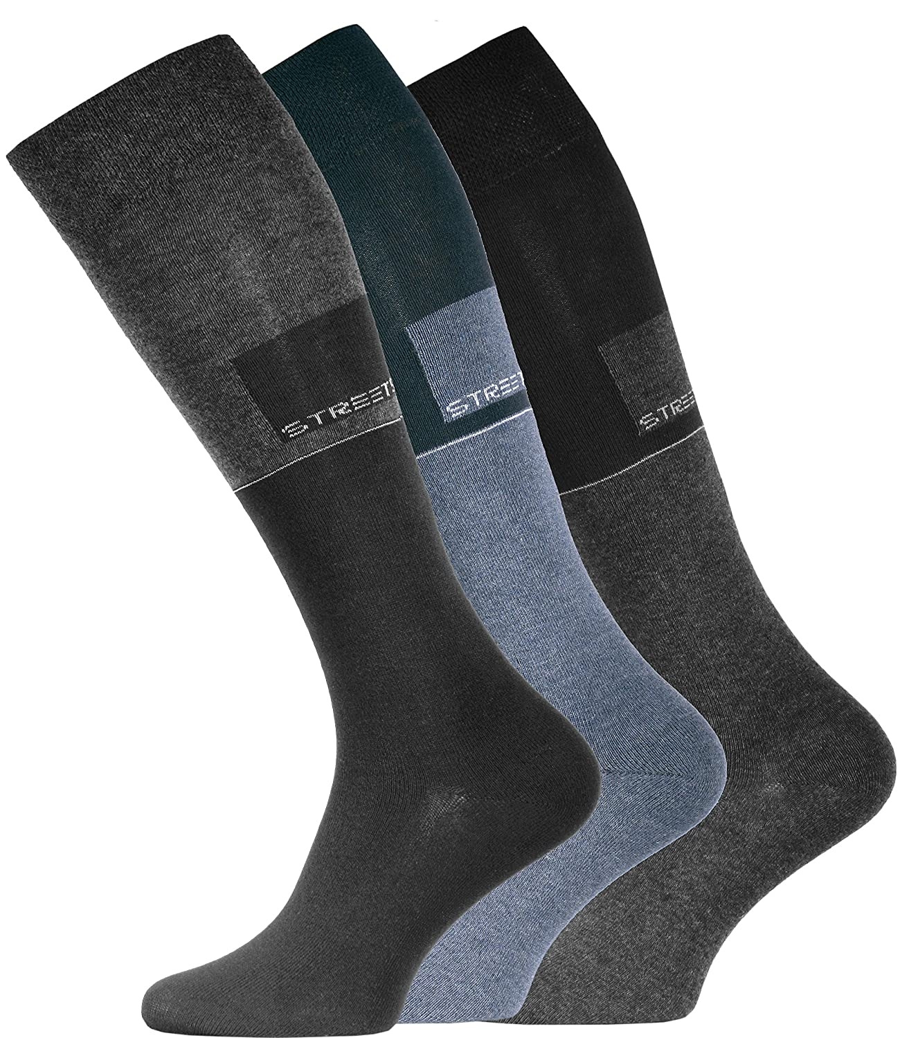3 Pair original VCA® Mens STREET Knee-High Socks, Soft Top