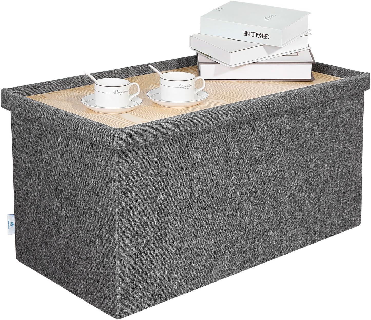 - Amazon.com: B FSOBEIIALEO Storage Ottoman With Tray, Linen Coffee