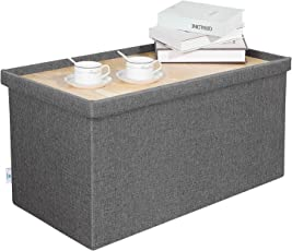 B FSOBEIIALEO Folding Storage Ottoman Footrest Stool Linen Coffee Table Seat Chest  sc 1 st  Amazon.com & Ottomans u0026 Storage Ottomans | Amazon.com