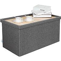 "B FSOBEIIALEO Storage Ottoman with Tray, Linen Coffee Table Folding Long Shoes Bench Footstool, Dark Grey 30""x15.74""x15"""