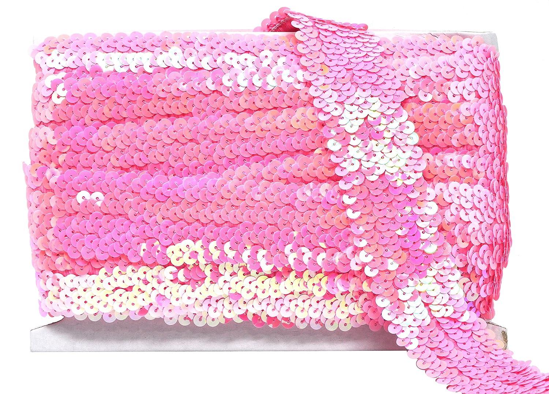 Metallic Appliqu/é Trim Lace for Dress Embellish Headband Flat Glitter Stretch Bling Paillette Fabric Ribbon Mandala Crafts Elastic Sequin 1.5 Inches, Silver