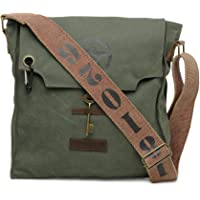 The House Of Tara 100% Cotton Canvas Messenger Bag in Distress Finish (Moss Green) HTMB 072