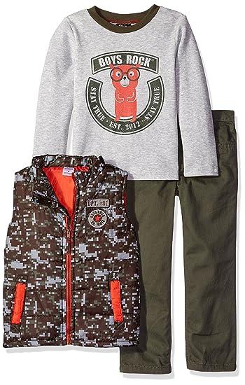 aca0d61a7 Amazon.com  Boys Rock Little Boys  Toddler 3 Pc Puffy Vest Set ...