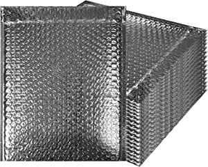 Thermal Insulated Bubble Mailers 8x11 Food Grade Padded envelopes 8 x 11 by Amiff. Pack of 10 Silver Cushion envelopes. Peel and Seal. Metallic foil. Mailing, Shipping, Packing, Packaging.