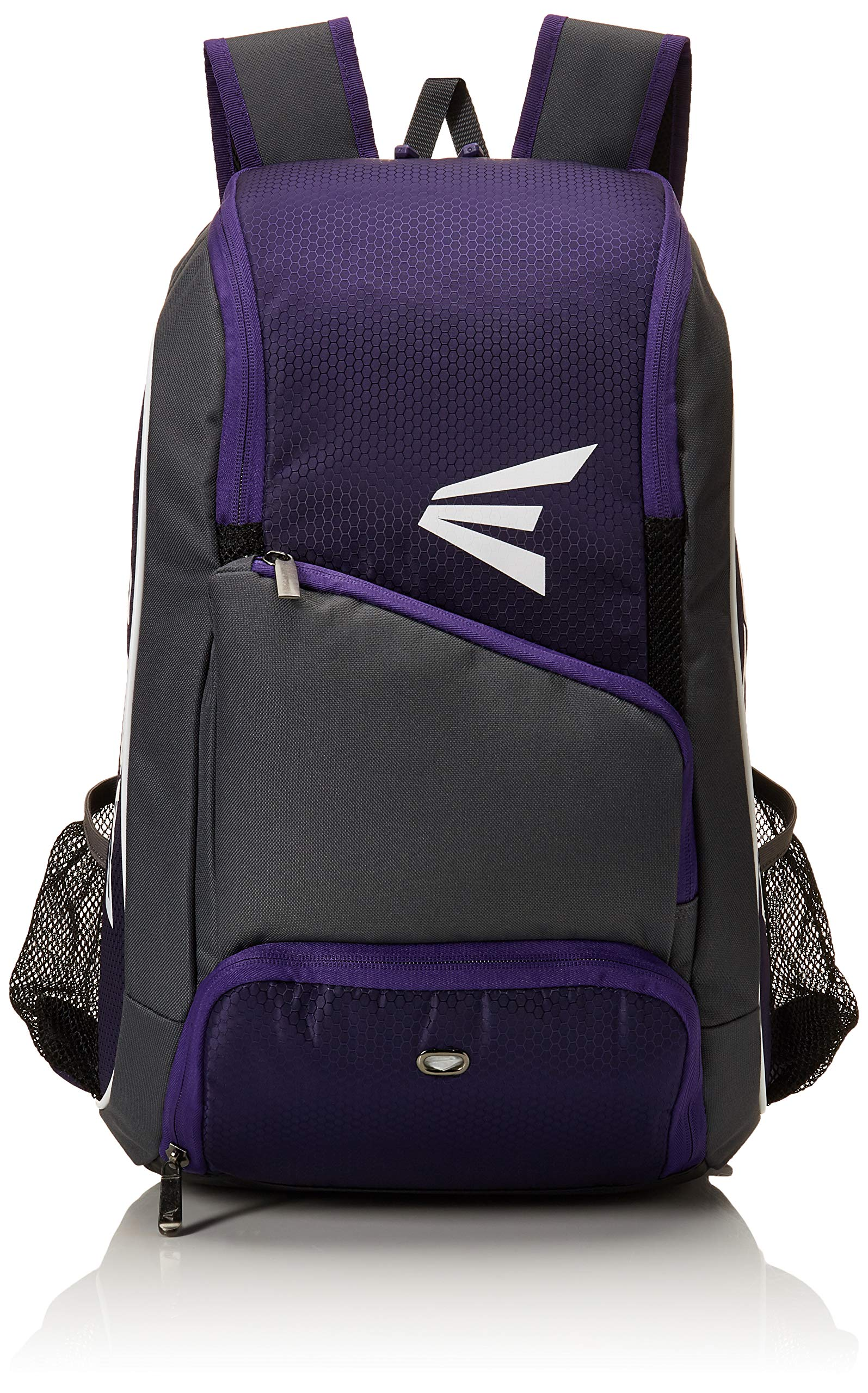 EASTON GAME READY Bat & Equipment Backpack Bag | Baseball Softball | 2019 | Purple | 2 Bat Pockets | Vented Main Compartment | Vented Shoe Pocket | Zippered Valuables Pocket | Fence Hook by Easton