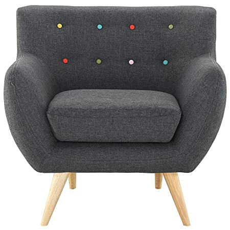 Modway Remark Mid-Century Modern Accent Arm Lounge Chair with Upholstered Fabric in Gray