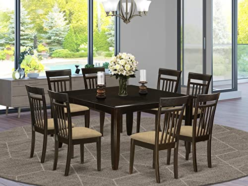 East West Furniture 9 PC Dining Room Set Table