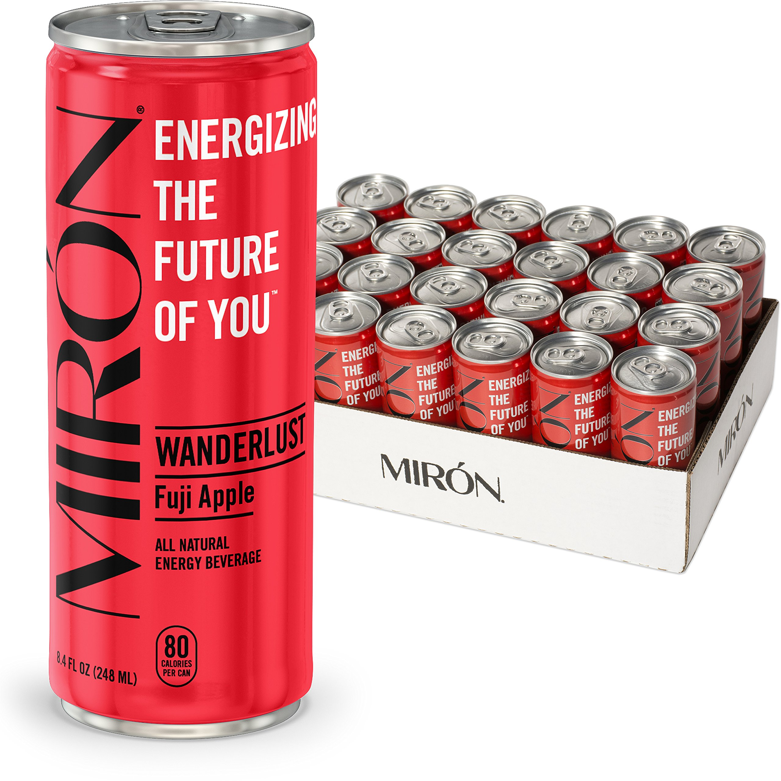 Mirón Fuji Apple All Natural Sparkling Energy Beverage 8.4 Fl.Oz. Cans (Pack of 24)
