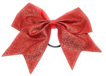 official site detailed look discount Amazon.com : Girls 7 inch Stiff Glitter Cheer Hair Bow ...