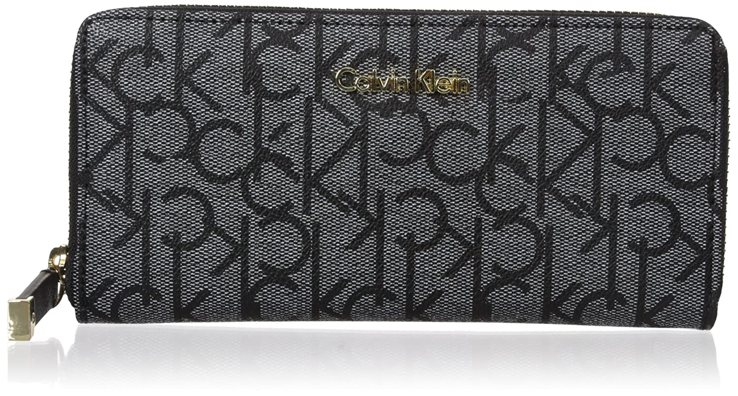 Calvin Klein カルバンクライン 財布 メンズ 長財布 Men's MoNogram Continental Zip Wallet B01FO9TTQCTextured White/black