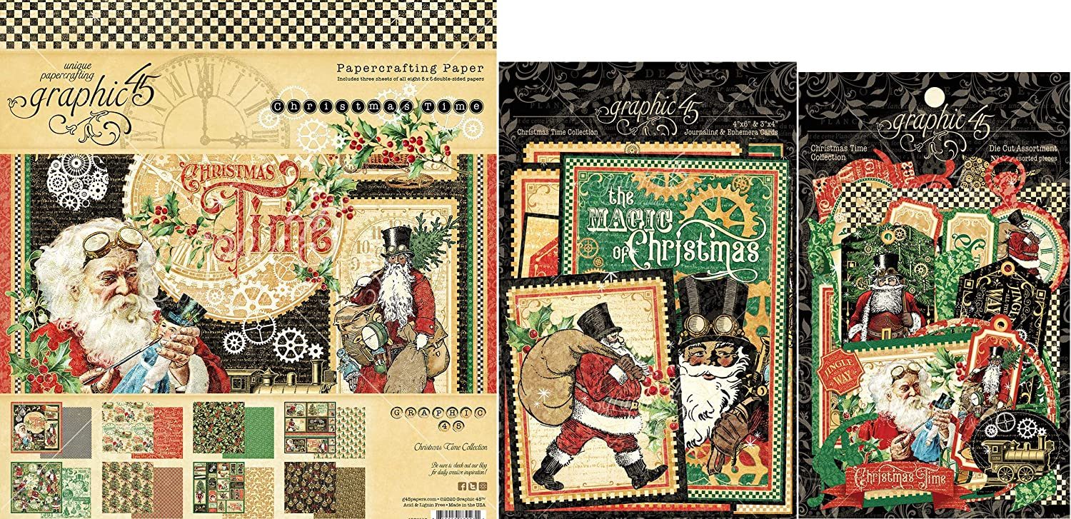 Graphic 45 Christmas Time - 8x8 Paper Pad, Cardstock Die-cuts, Ephemera with Storage Pocket