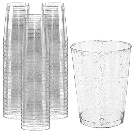 5ad1b03035ce Glitter Disposable Cups   10 oz. 50 Pack   Clear Plastic Cups   Silver  Glitter Plastic Party Cups   Disposable Plastic Wine Glasses for Parties    ...
