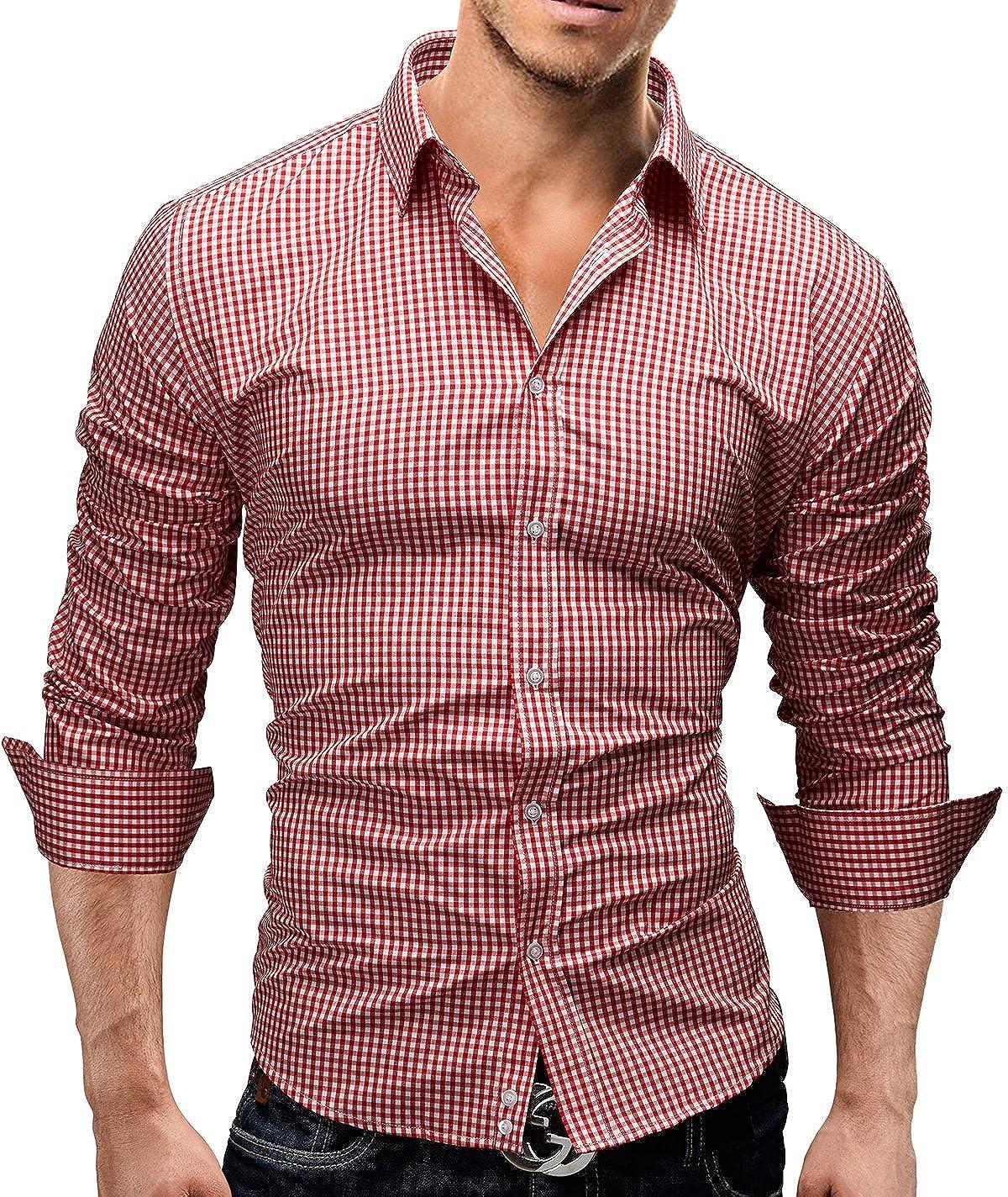 Slim Fit 5 Colori Taglia S XXL Modell 41 disegno speciale Merish Camicia Uomo a scacchi