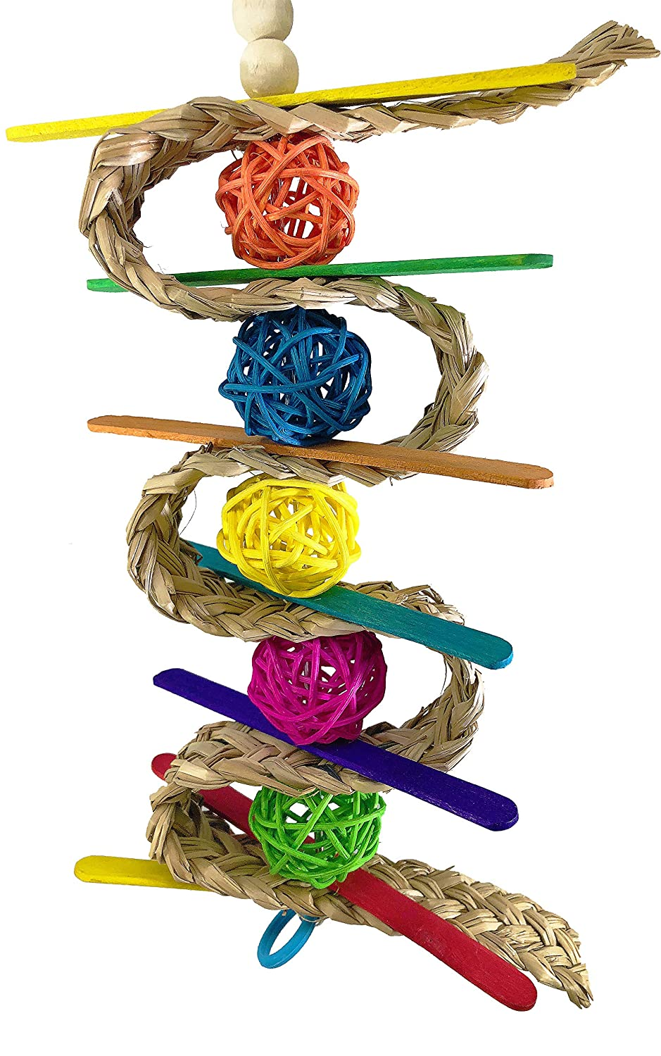 Bonka Bird Toys 00156 Chewballishous Bird Toy Parrot cage Toys Cages Natural Cockatiels parrotlets Quality Product Hand Made in The USA
