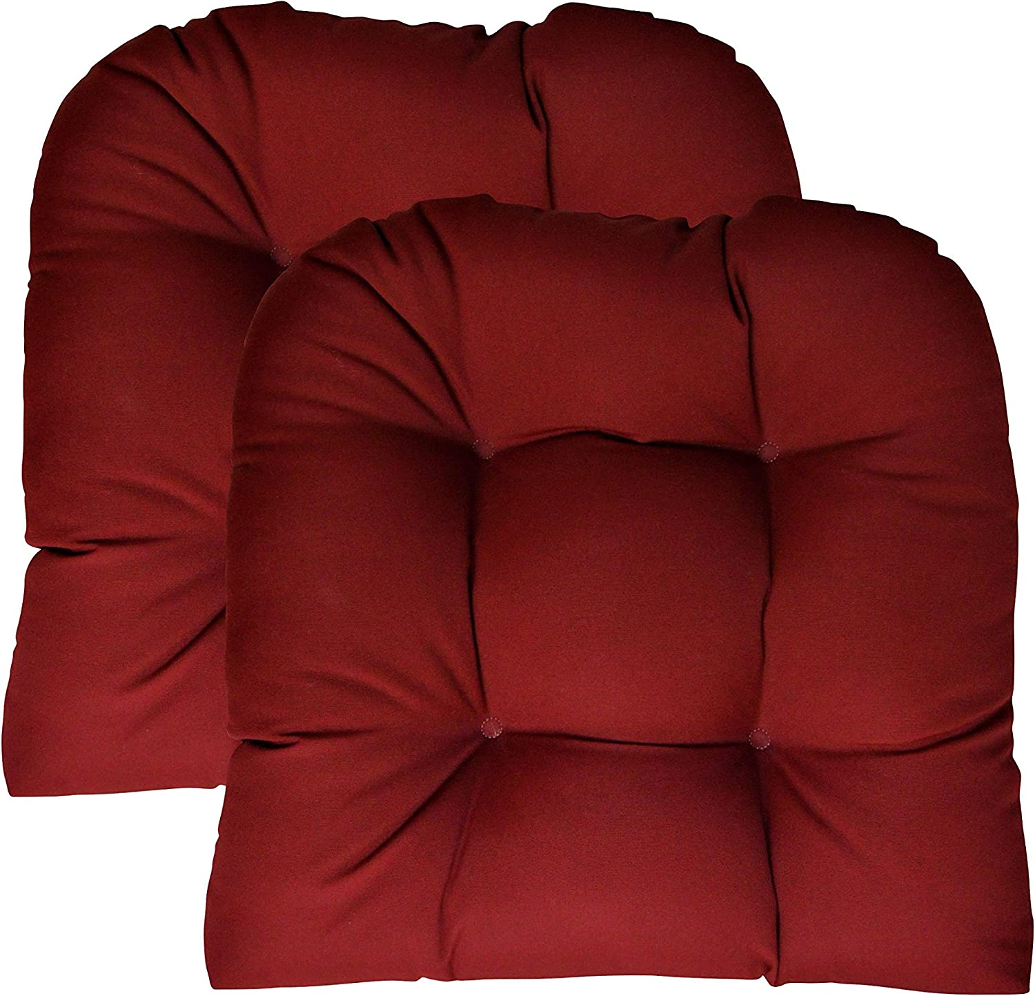 Sunbrella Canvas Burgundy Large 2 Piece Wicker Chair Cushion Set - Indoor / Outdoor Tufted Wicker Matching Chair Seat Cushions