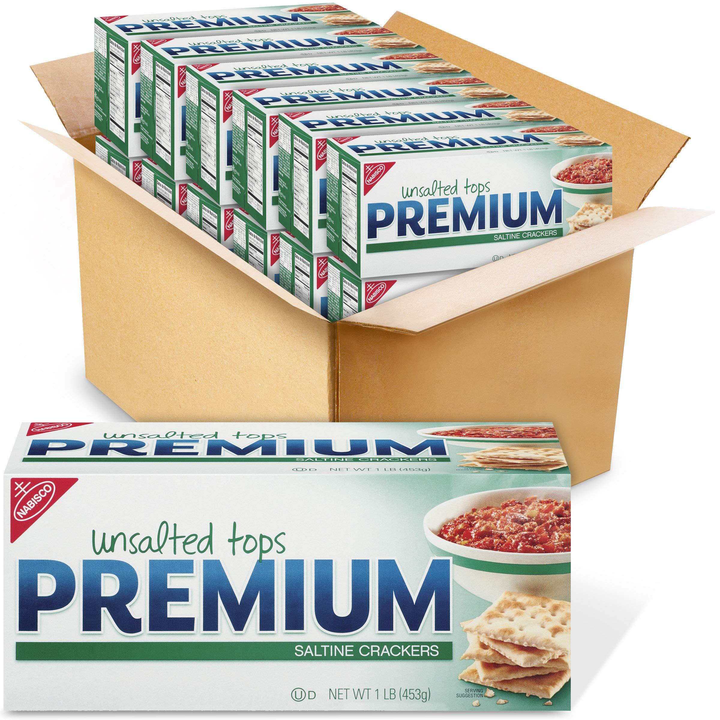 Premium Unsalted Tops Saltine Crackers, 12 - 16 oz Boxes