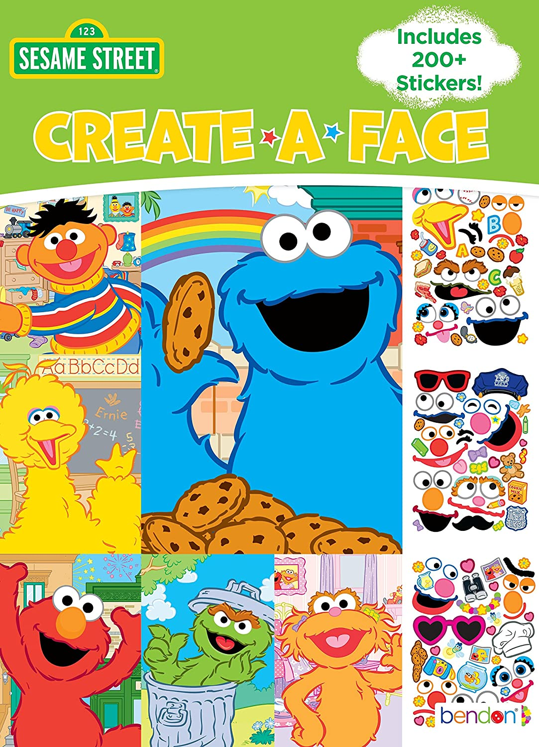 Amazon com bendon create a face sticker book sesame street toys games