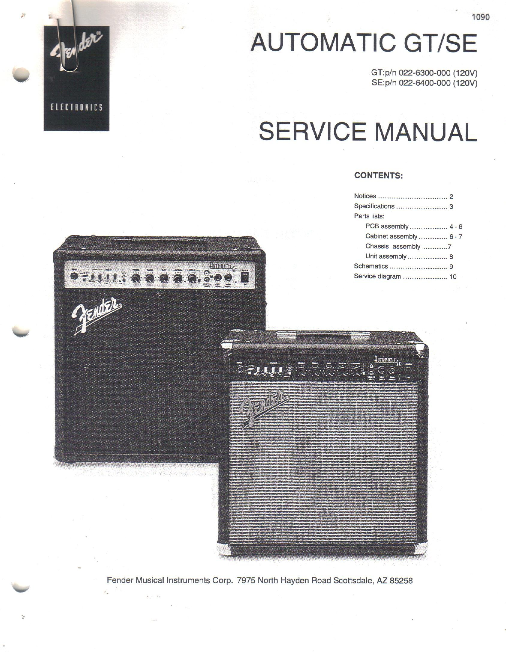 Fender Automatic Gt Se Amp Amplifier Service Manual Repair Guide Electronic Instrument Schematics Electronics Sunn Books