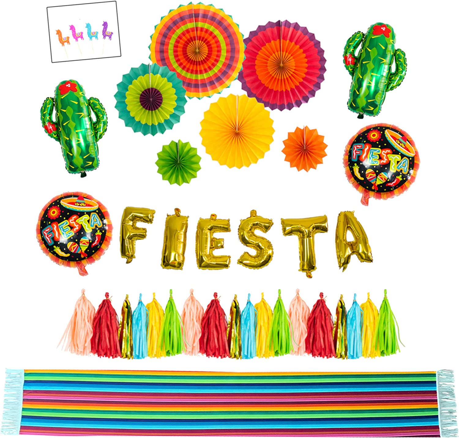 FIESTA Decoration Supply kit With Table Runner- Cactus decor foil Balloons, Gold Fiesta balloon banner, Fiesta helium balloons, Coco paper tassel garland, Mexican party style paper fans; Table runner