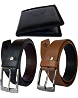 Discover Fashion Men Pu Leather Belt wallet combo of 3