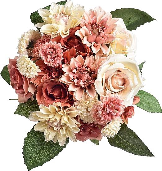 Amazon Com Aonewoe Fake Flowers 2 Pack Silk Dahlia Flowers