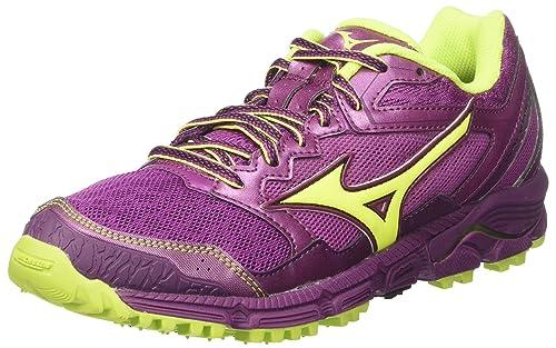 Wave Daichi 3 Wos, Zapatillas de Running para Mujer, Multicolor (Clover/Safetyyellow/Darkpurple 44), 39 EU Mizuno