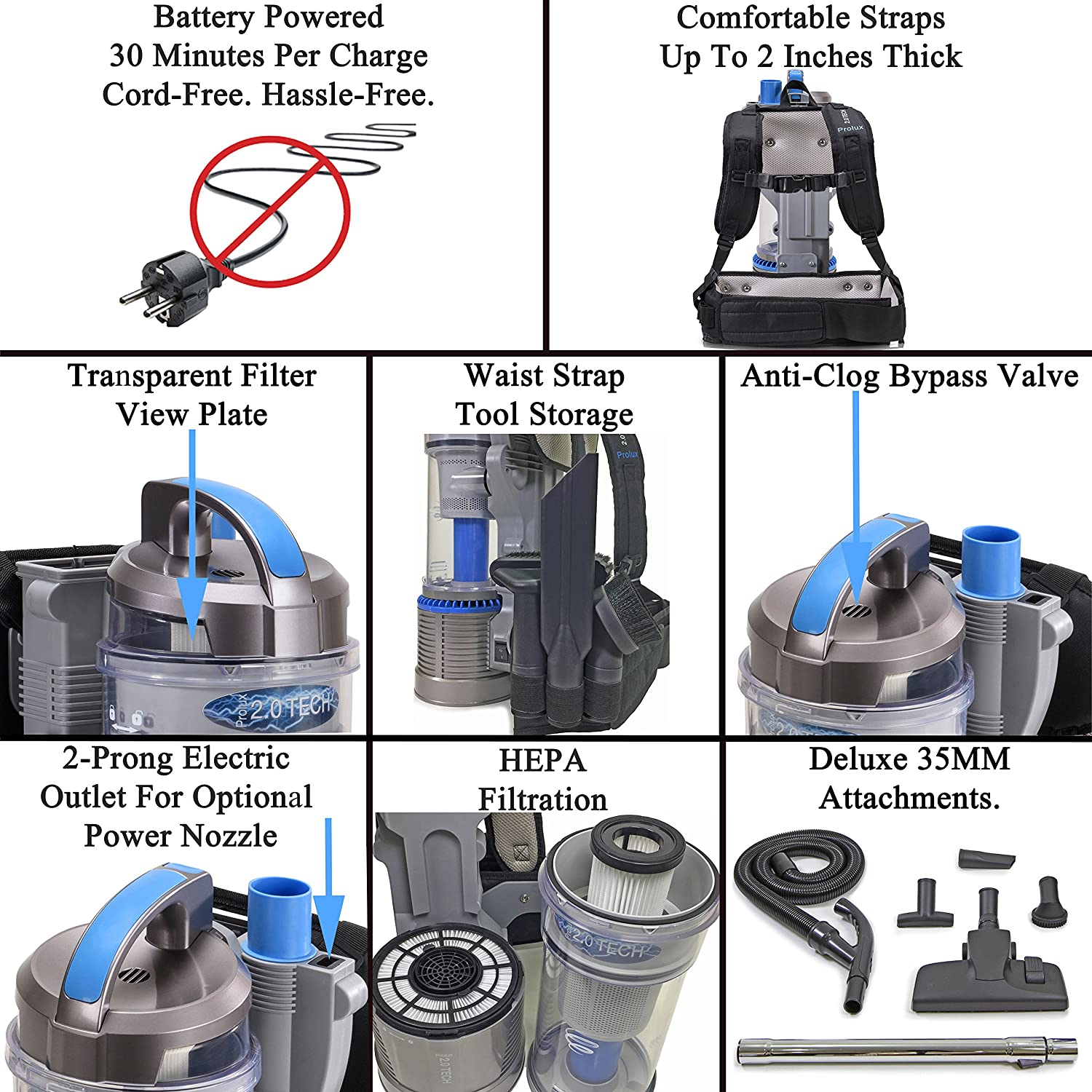 Prolux 20 Cordless Bagless Backpack Vacuum With Work Lipo Charger This Balancer Can Be Used To 2 3 Lithium Ion Battery