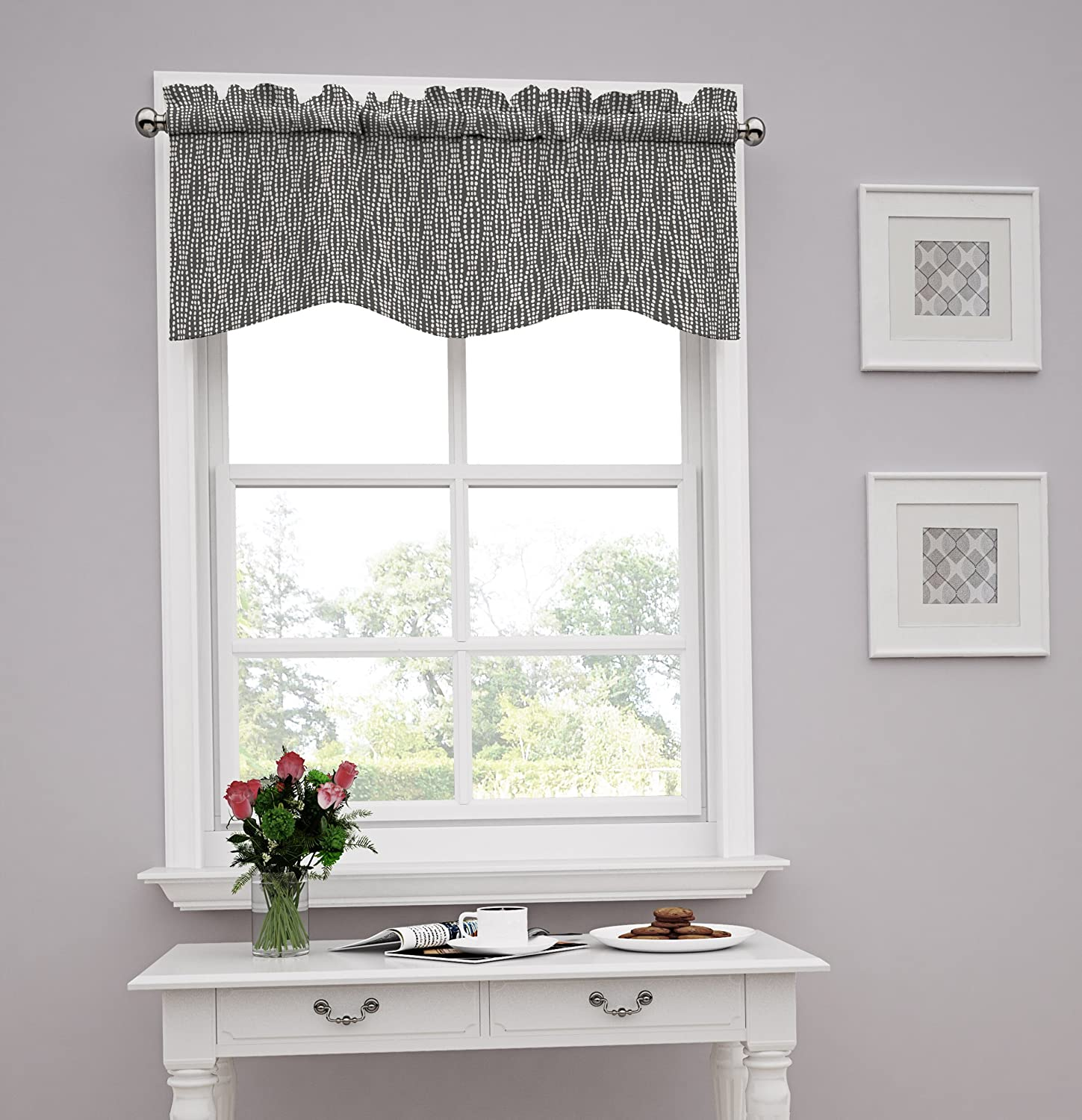 Traditions by Waverly Strands Window Valance, Charcoal Ellery Homestyles 14977052016CHR