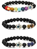 Amazon Price History for:LOYALLOOK 3pcs Evil Eye Bracelet Lava Stone Beads Essential Oil Diffuser Bracelet For Men Women