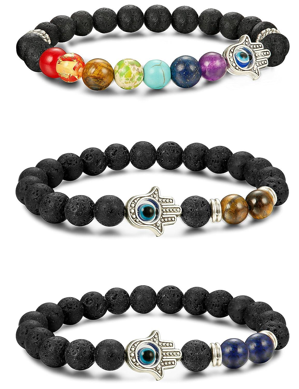 LOYALLOOK 3pcs Evil Eye Bracelet Lava Stone Beads Essential Oil Diffuser Bracelet for Men Women TI120701F