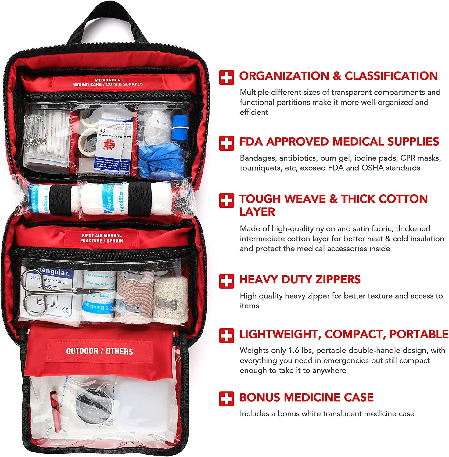 220 Piece First Aid Kit with Hospital Grade Medical Supplies, Great for Home, Outdoors, Office, Car, Travel, Camping, Hiking, Boating, Every Emergencies.: Health & Personal Care