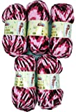 5 x 100 Gramm Himalaya Dolphin Junior Colours Wolle 81003 bordeaux pink rosa zum Stricken und Häkeln super bulky 500 g Strickwolle