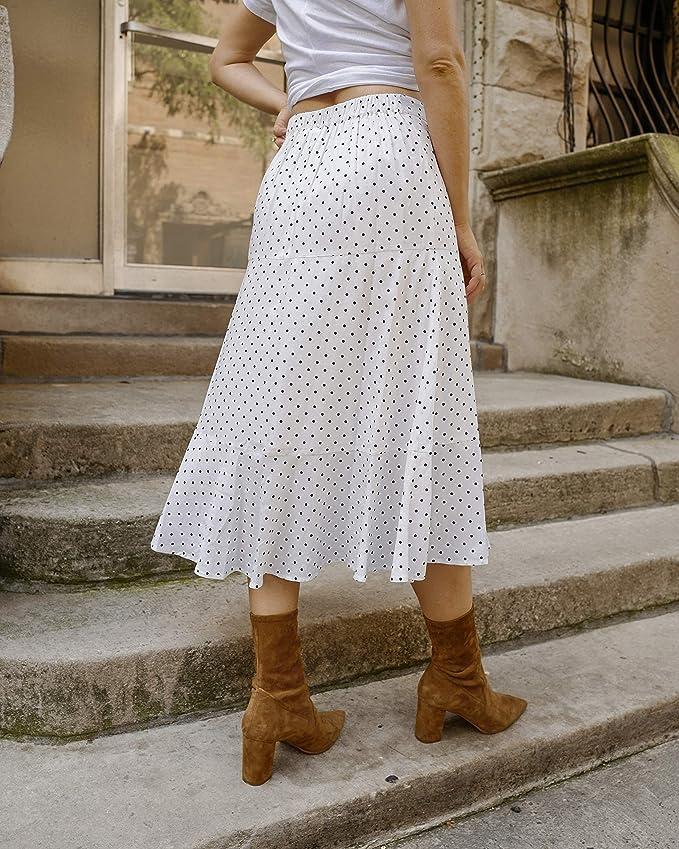 The Drop Falda midi de talle alto blanca a lunares con volantes ...