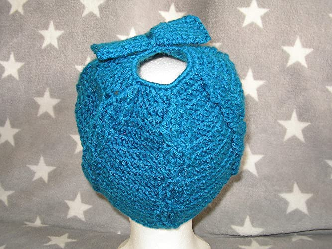 Mütze Für Zopf Gehäkelt In Blaugrün Zopfmütze Amazonde Handmade