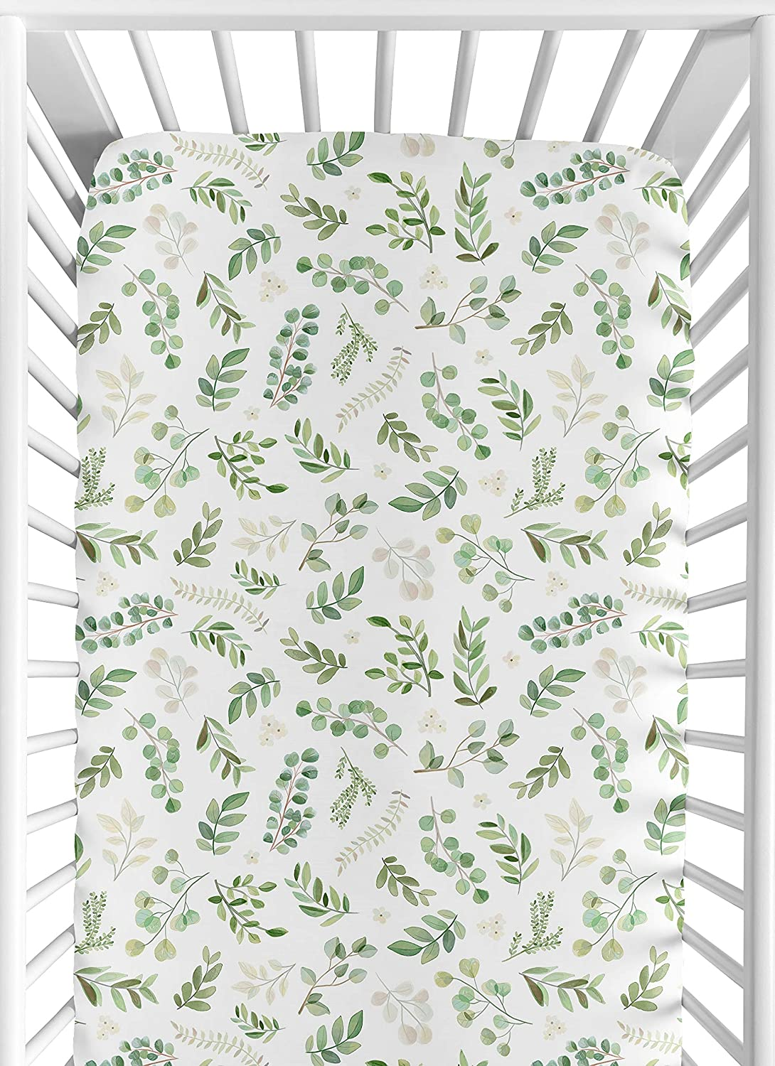 Sweet Jojo Designs Leaf Boy Girl Jersey Stretch Knit Baby Fitted Crib Sheet for Soft Toddler Bed Nursery - Green White Boho Watercolor Botanical Floral Flower Woodland Tropical Garden