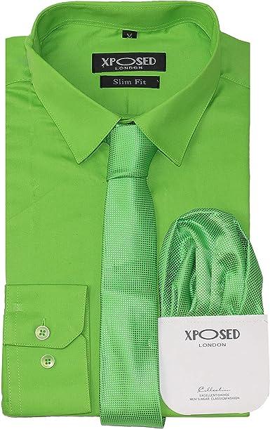 Xposed Conjunto de regalo para hombre, de algodón clásico, entallado, camisa, corbata, conjunto de regalo, casual, formal, trabajo, 22 colores, color ...