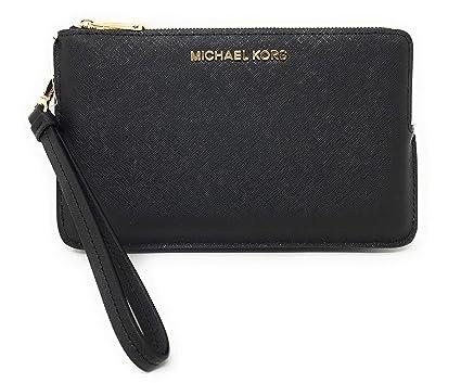 041b97ba756c Michael Kors Jet Set Travel Extra Large Double Gusset Top Zip Saffiano  Leather Wristlet (Black