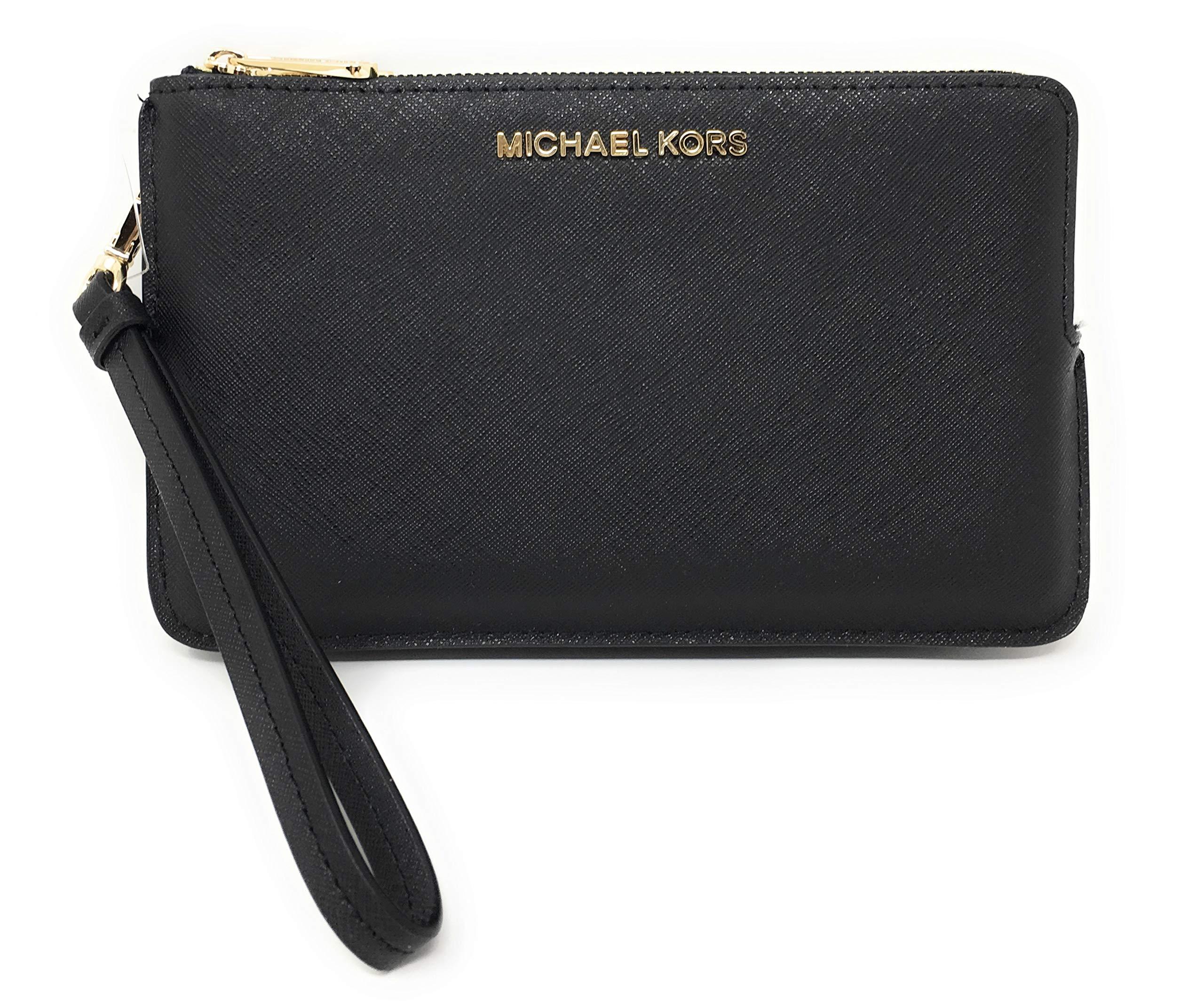 Michael Kors Jet Set Travel Extra Large Double Gusset Top Zip Saffiano Leather Wristlet (Black)