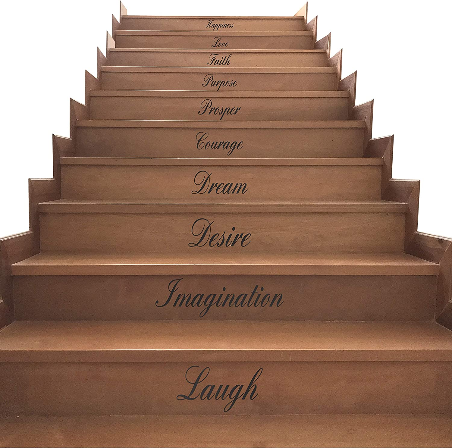 Wall Decals & Kitchen Stickers Wall Decor - Premium Stair Decals for Wooden Steps - Perfect for Bathrooms, Stairway, Living Room, Walls - Bathroom Decor Wall Art Stickers - Wall Words