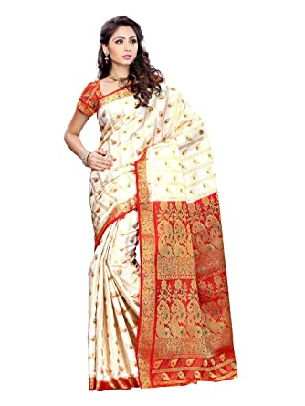 53409afcc6554e Amazon.com: Mimosa Women Kanchipuram Artificial Silk Saree with Contrast  Blouse (3166-138-OFFWT): Clothing