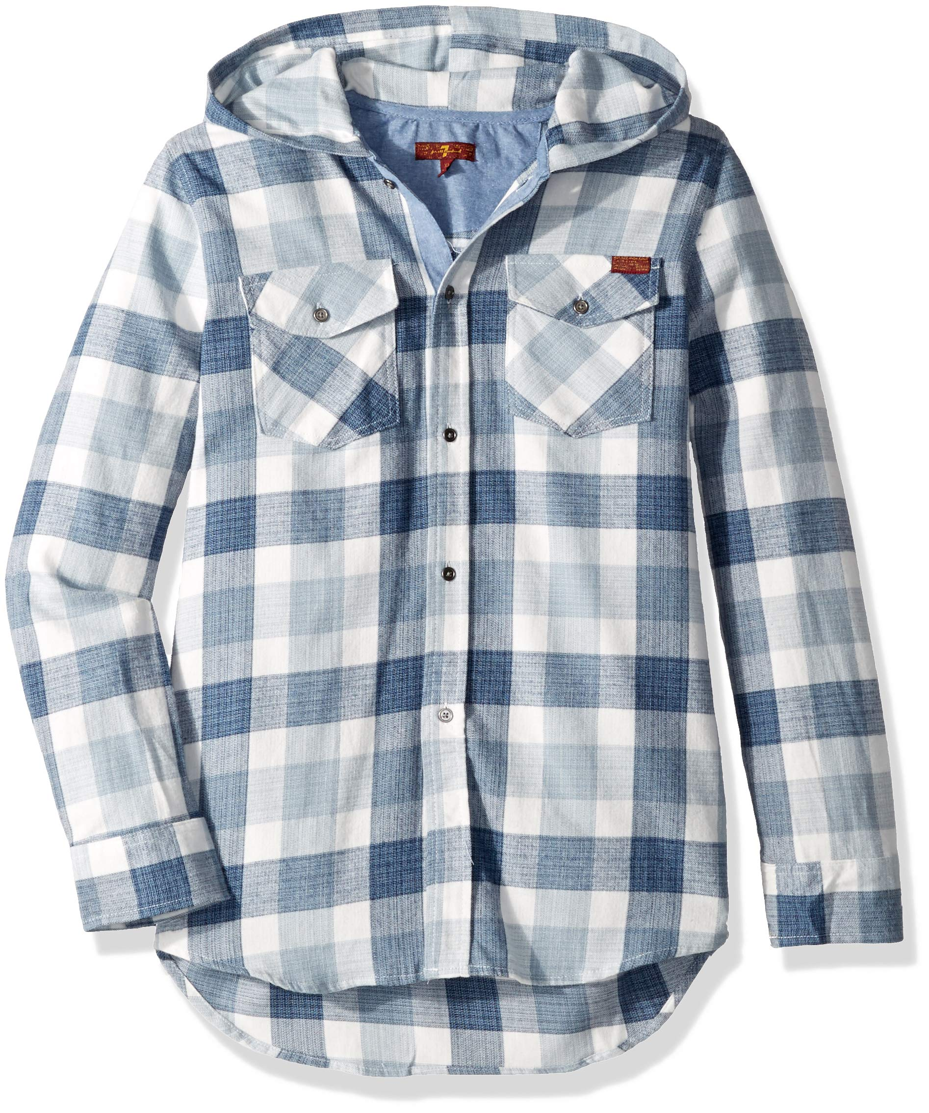 7 For All Mankind Kids Boys' Big' Long Sleeve Hooded Shirt, Plaid, XL
