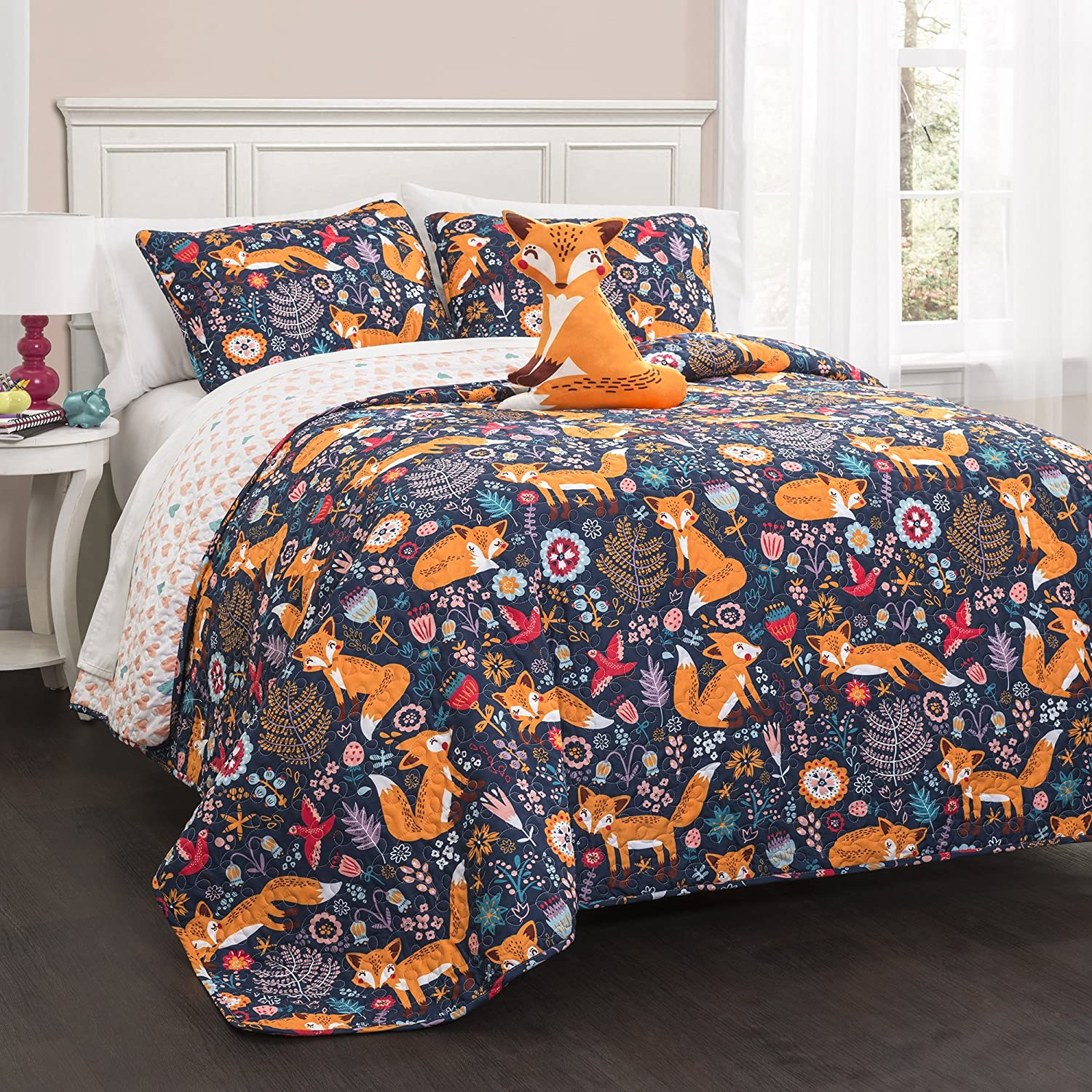 Lush Decor Pixie Fox Quilt Reversible 4 Piece Bedding Set - Navy - Full/Queen,