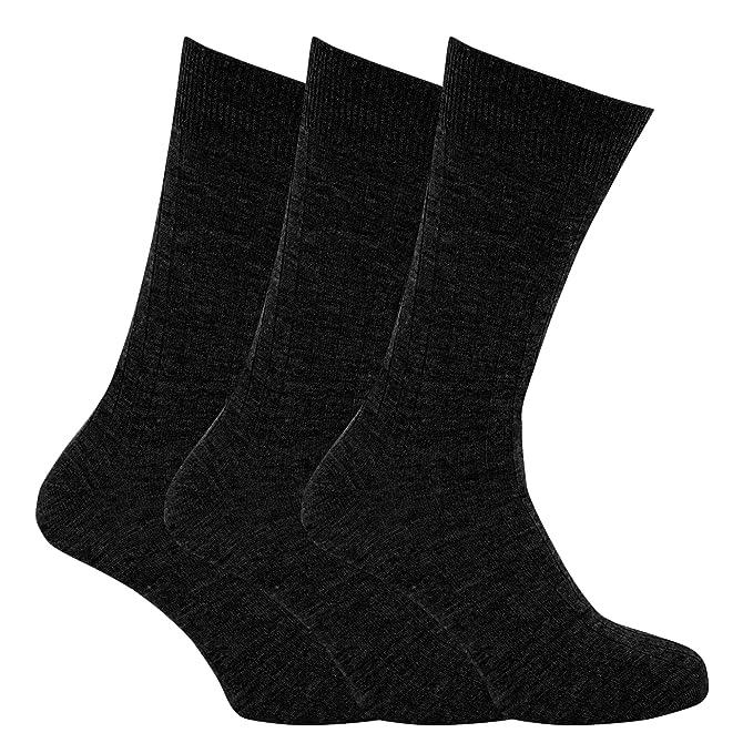 Calcetines térmicos acanalados con lana de cordero para hombre/caballero - Pack de 3 pares